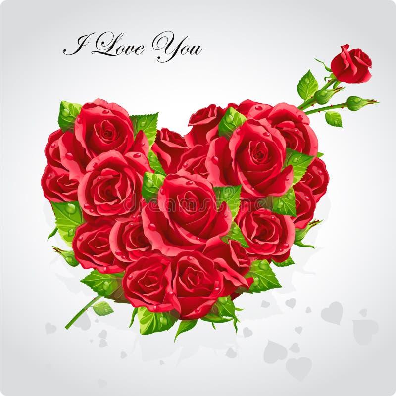 Karte für Valentinstag-Herz roten roses-EPS10 vektor abbildung