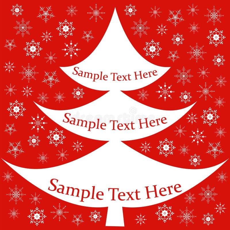 Karte, Fahne mit Weihnachtstanne, Schneeflocken lizenzfreie stockfotos