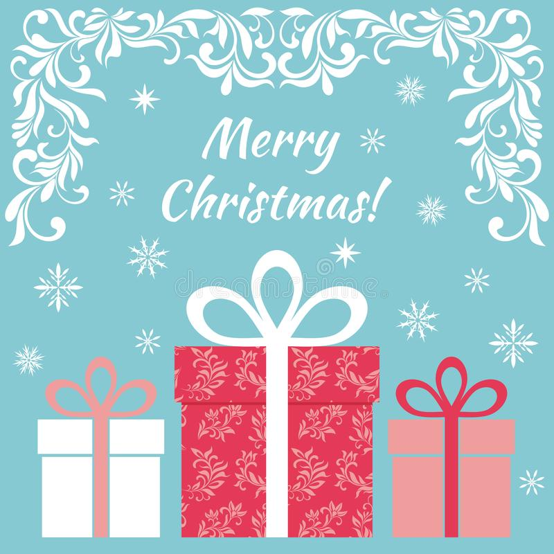 Karte - frohe Weihnachten! Geschenke in einem festlichen Kasten mit Bändern auf einem blauen Hintergrund stock abbildung
