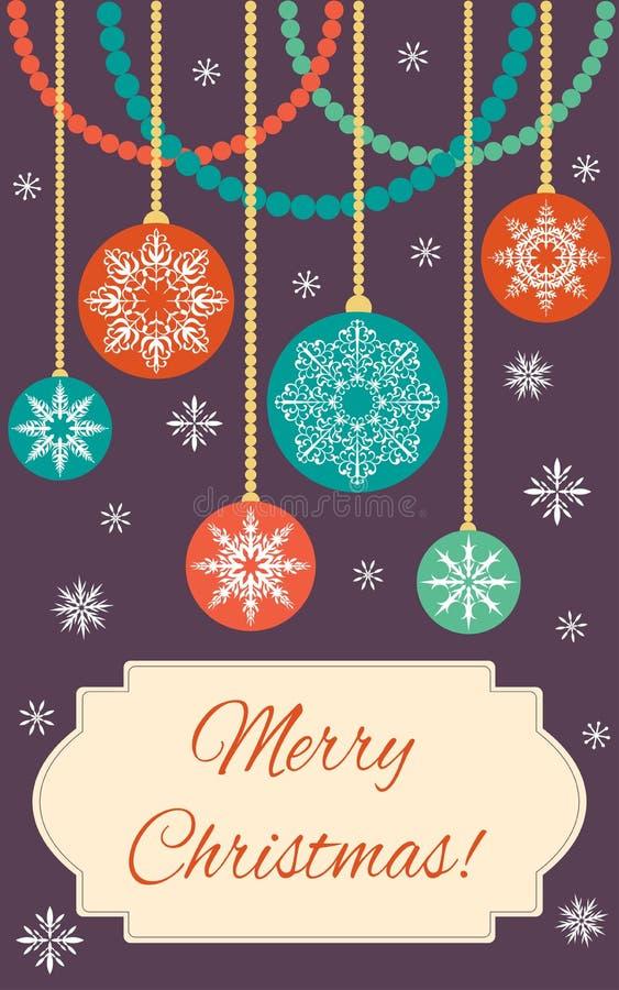 Karte - frohe Weihnachten! Weihnachtsbälle mit Schneeflocken und deco stock abbildung