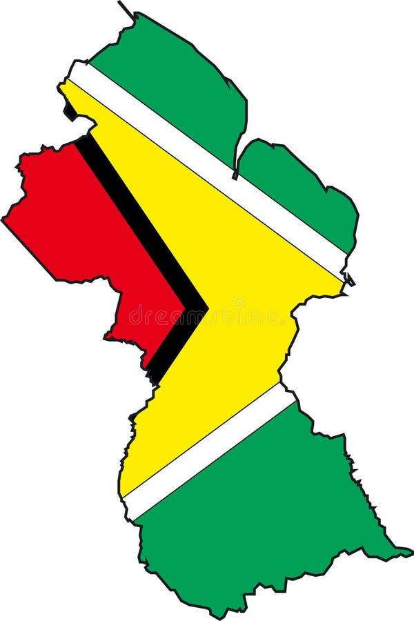 Karte Guyana lizenzfreie abbildung