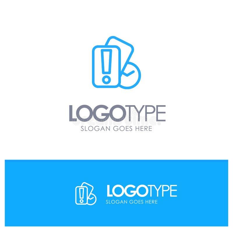 Karte, Hand, Holding, Referent-Blue-Entwurf Logo mit Platz für Tagline lizenzfreie abbildung