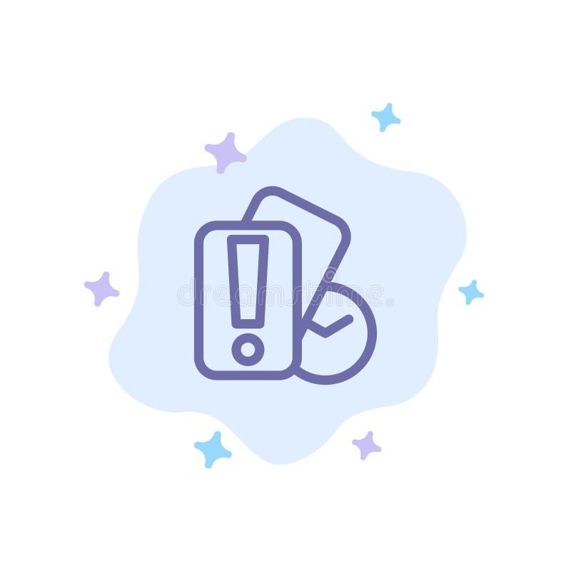 Karte, Hand, Holding, Referent Blue Icon auf abstraktem Wolken-Hintergrund stock abbildung