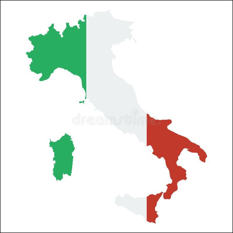 Karte Italien-hoher Auflösung mit Staatsflagge vektor abbildung