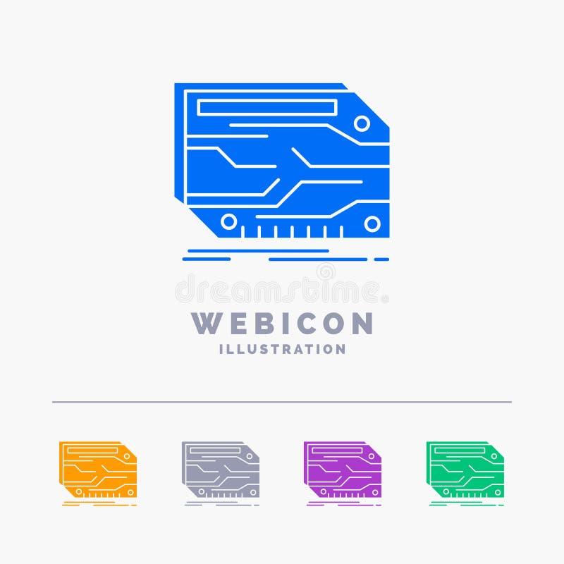 Karte, Komponente, kundenspezifisch, elektronisch, Gedächtnis 5 Farbeglyph-Netz-Ikonen-Schablone lokalisiert auf Weiß Auch im cor vektor abbildung
