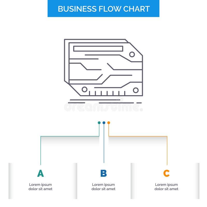 Karte, Komponente, kundenspezifisch, elektronisch, Ged?chtnis Gesch?fts-Flussdiagramm-Entwurf mit 3 Schritten Linie Ikone f?r Dar lizenzfreie abbildung