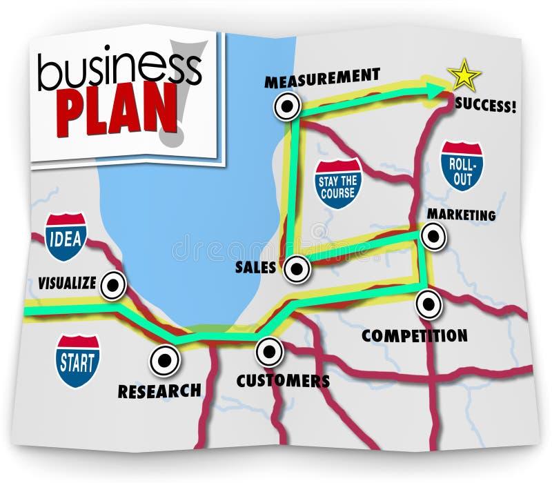 Karte laufen Erfolgs-Straßen-Richtungs-Produkteinführungs-neues Unternehmen an lizenzfreie abbildung