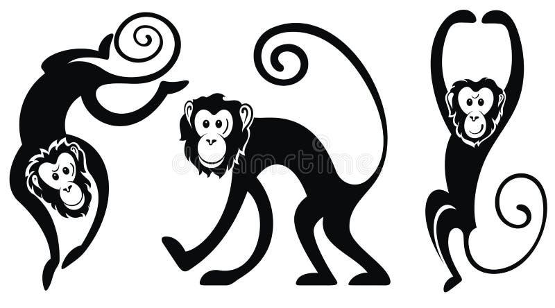 Karte mit Affen lizenzfreie abbildung