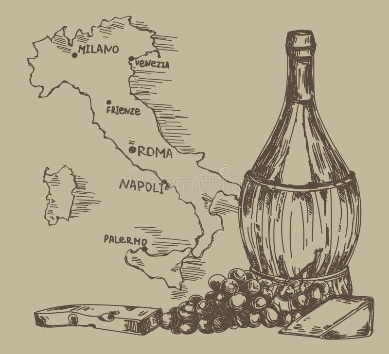 Karte mit altmodischer Weinflasche und Italien zeichnen auf lizenzfreie abbildung