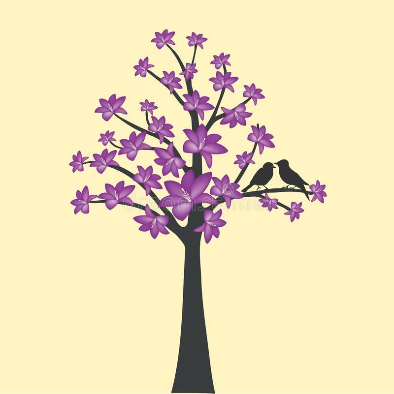 Karte mit Blumenbaum- und Liebesvogel lizenzfreie abbildung