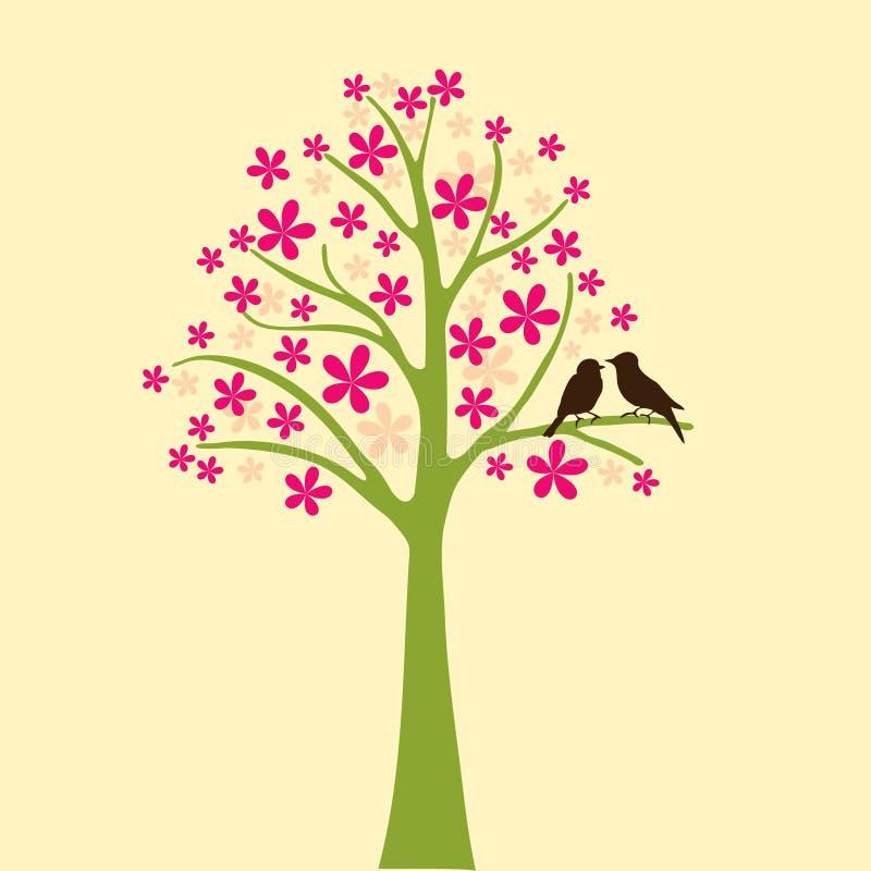 Karte mit Blumenbaum- und Liebesvogel vektor abbildung
