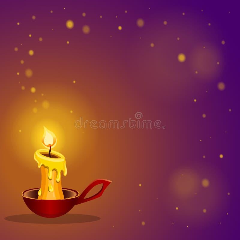 Karte mit brennender Kerze lizenzfreie abbildung
