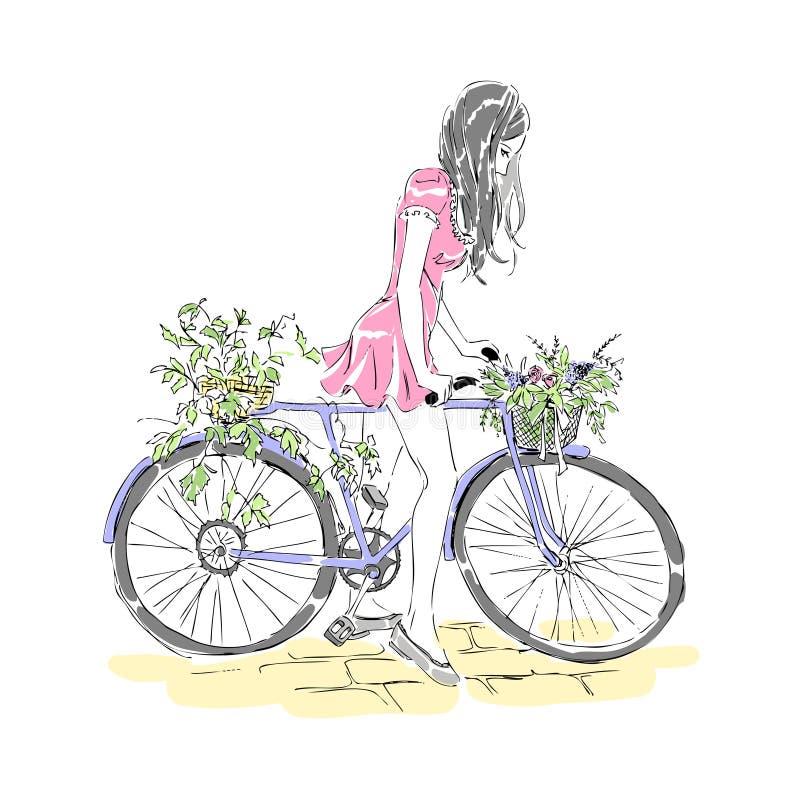 Karte mit dem Mädchen, das ein Fahrrad reitet Vektor freihändig stock abbildung
