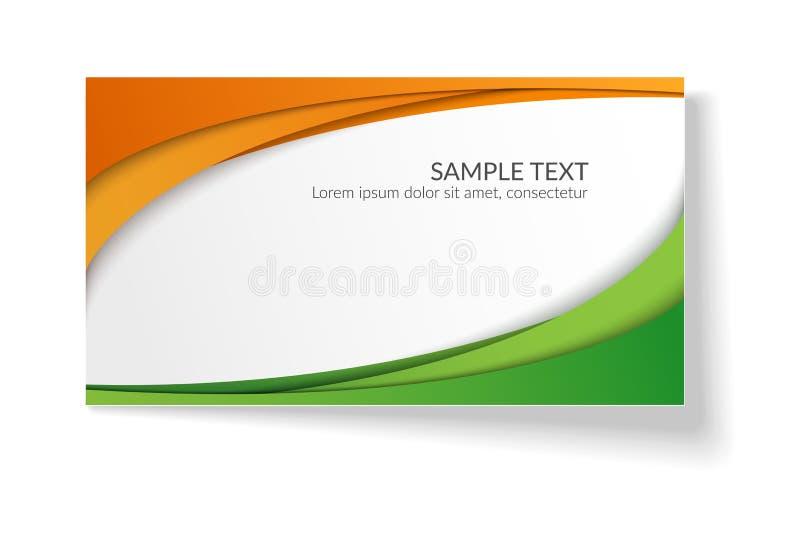 Karte mit den glatten gewellten Linien der Zusammenfassung orange und den grünen Streifen ein helles kreatives Element für den En stock abbildung