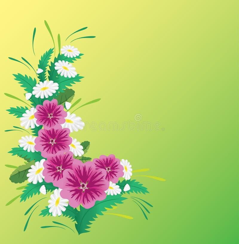 Karte mit den rosafarbenen und weißen Blumen lizenzfreie abbildung