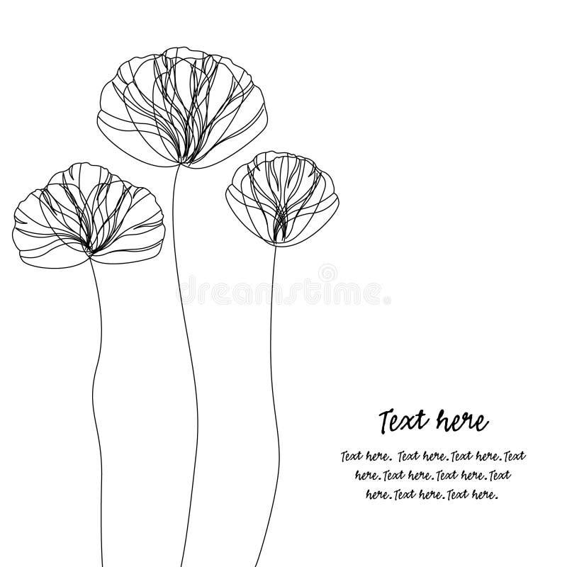 Karte mit eleganten Mohnblumen stock abbildung
