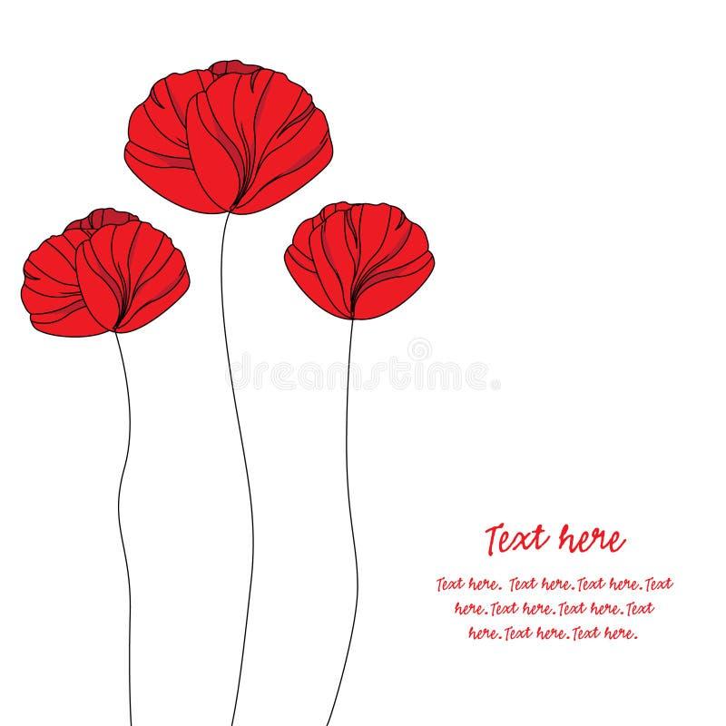 Karte mit eleganten roten Mohnblumen lizenzfreie abbildung