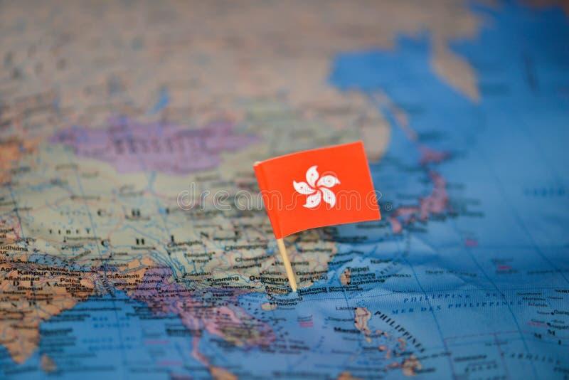 Karte mit Flagge von Hong Kong lizenzfreie stockfotos