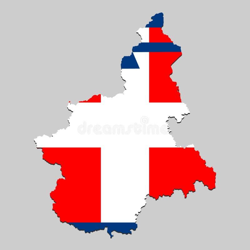 Karte mit Flagge lizenzfreie abbildung