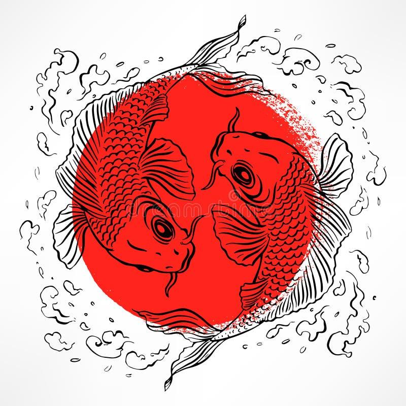 Karte mit japanischen Karpfen vektor abbildung
