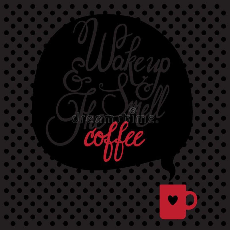 Karte mit Kaffee stock abbildung
