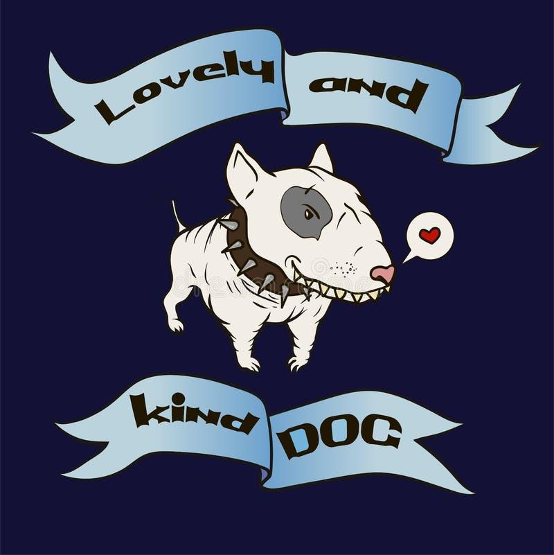 Karte mit nettem Karikaturhundebullterrier Lustiges Tier stock abbildung
