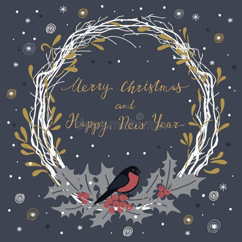 Karte mit neues Jahr ` s Eve Wreath vektor abbildung