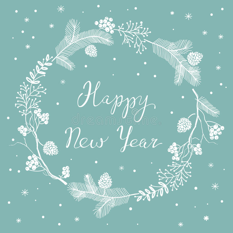 Karte mit neues Jahr ` s Eve Wreath lizenzfreie abbildung
