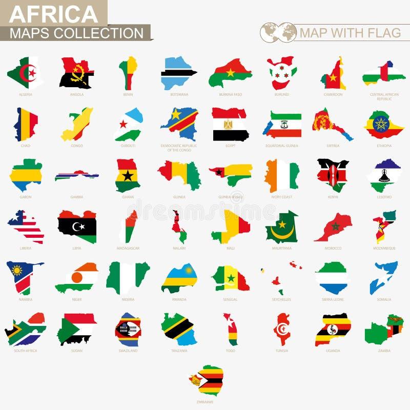 Karte mit Sammlung der afrikanischen Länder der Flagge stock abbildung