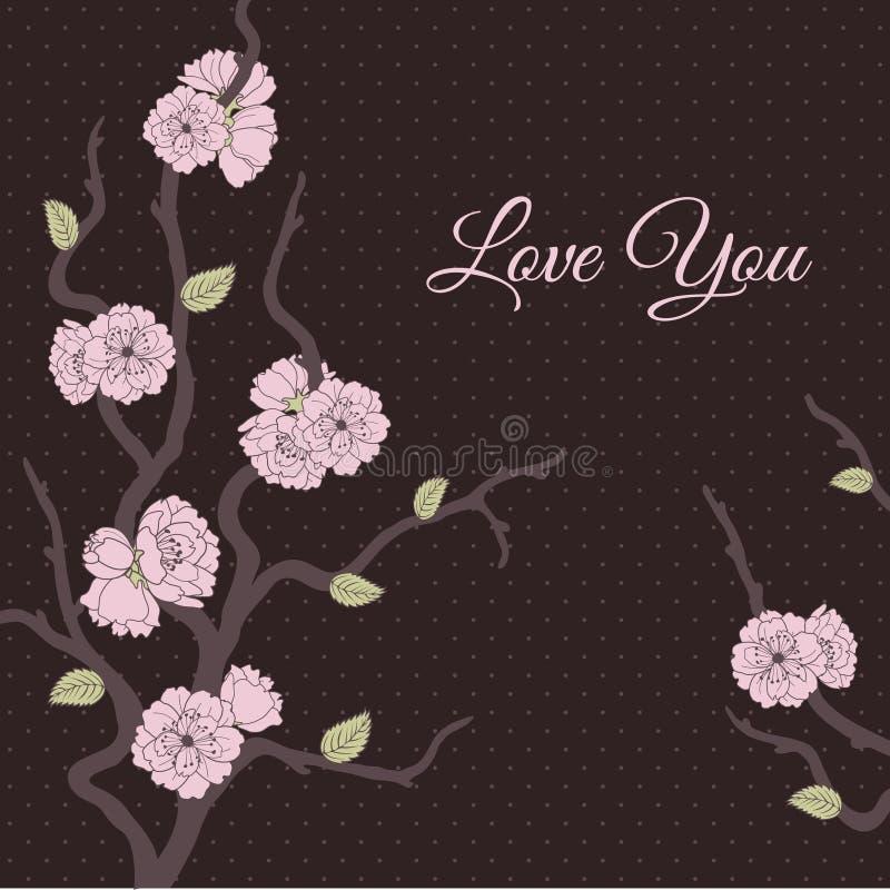karte mit stilisierter kirschblüte vektor abbildung