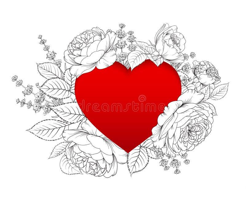 Karte mit Textplatz und Blumengirlande Lavendel- und Rosenblumenstrauß für Herzkarte Bedruckbare Weinleseeinladung mit stock abbildung