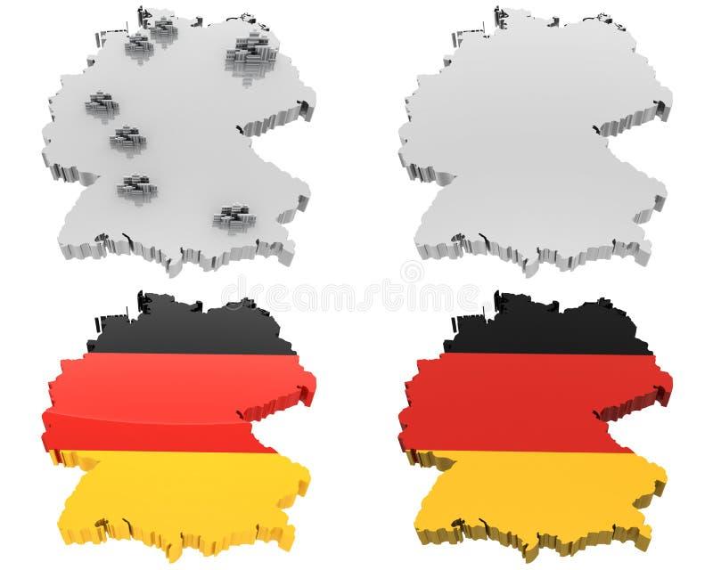 Karte mit vier Ansichten, Deutschland stock abbildung