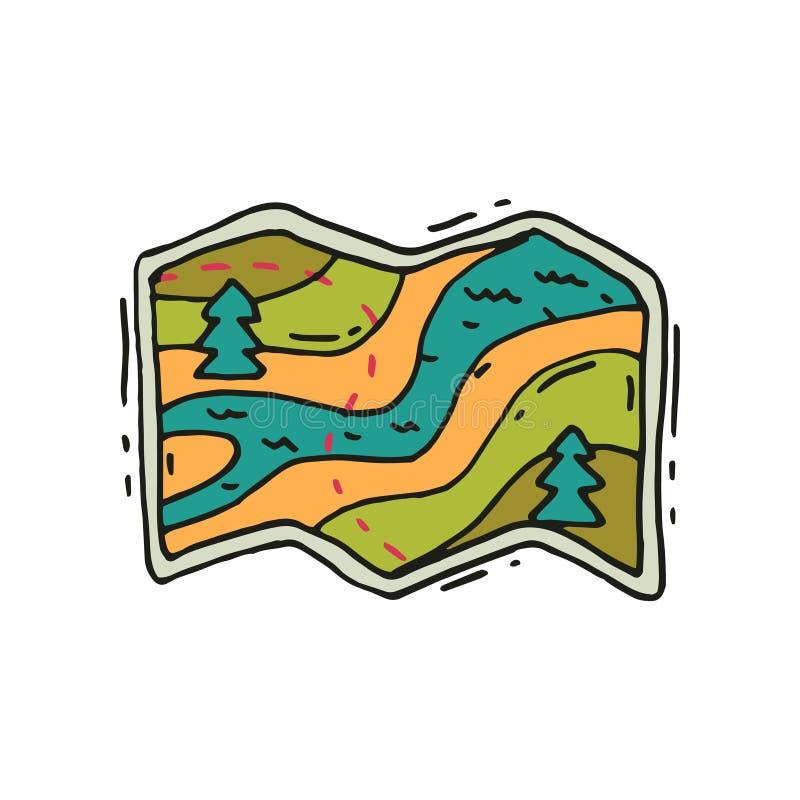 Karte mit Weg, Fluss und Tannenbäumen in der Gekritzelart Tourismus und kampierendes Thema Hand gezeichnetes Vektordesign vektor abbildung