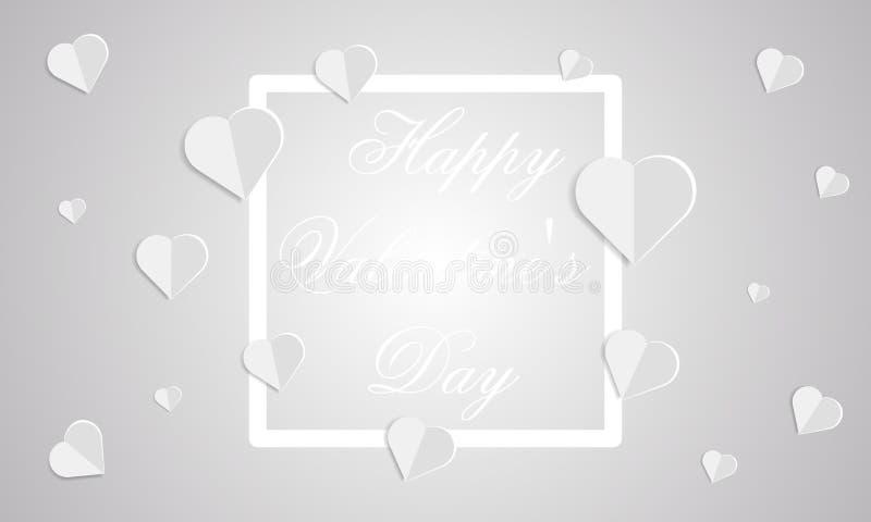 Karte mit weißen Herzen und ein Rahmen mit der Aufschrift glücklicher Valentine Day Day auf einem weißen Hintergrund lizenzfreie abbildung