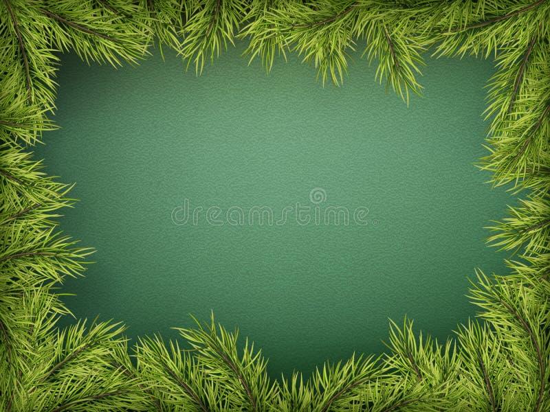 Karte mit Weihnachtsbaumgrenze, realistischer Tannenbaumniederlassungsrahmen auf grünem Hintergrund ENV 10 lizenzfreie abbildung