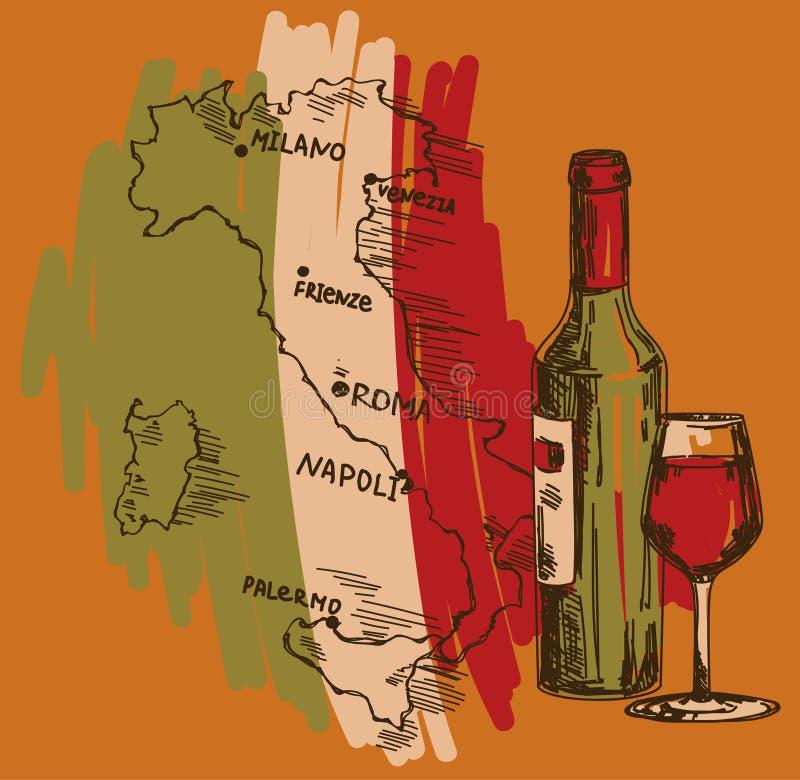 Karte mit Weinflasche, Glas und Italien zeichnen in den Staatsflaggefarben auf lizenzfreie abbildung