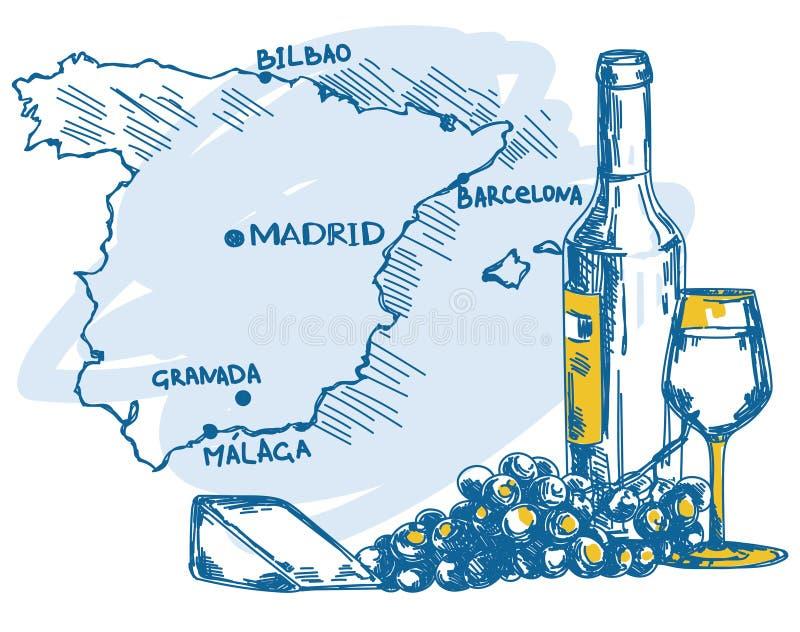 Karte mit Weinflasche, Glas und Käse und Spanien zeichnen auf stock abbildung