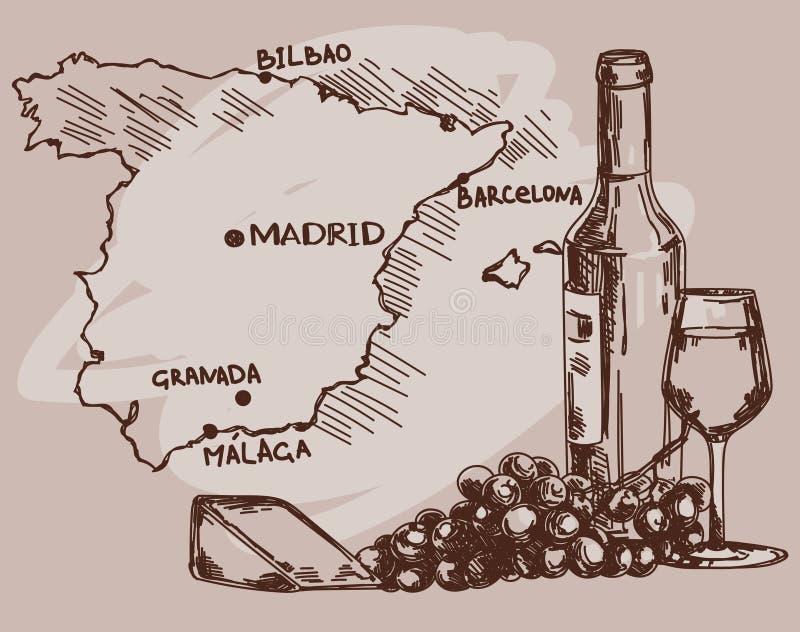 Karte mit Weinflasche, Glas und Käse und Spanien zeichnen auf lizenzfreie abbildung