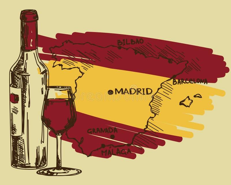 Karte mit Weinflasche, Glas und Spanien zeichnen in den Staatsflaggefarben auf stock abbildung