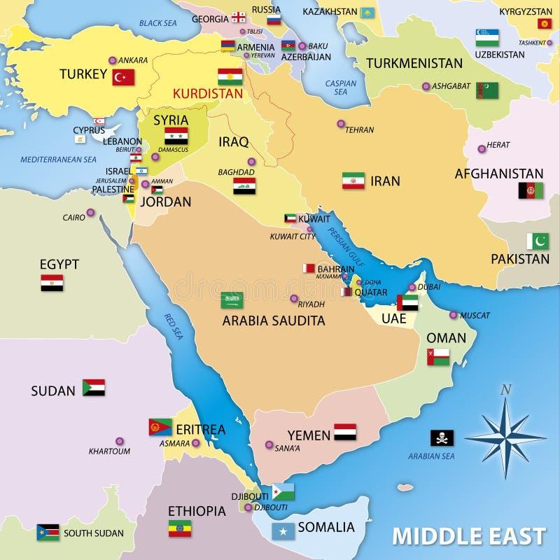 Karte Mittleren Ostens, grafische Ausarbeitung stock abbildung