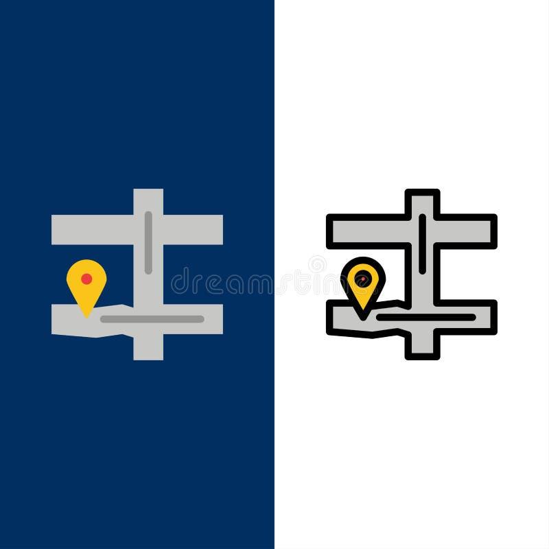Karte, Navigation, Pin Icons Ebene und Linie gefüllte Ikone stellten Vektor-blauen Hintergrund ein lizenzfreie abbildung