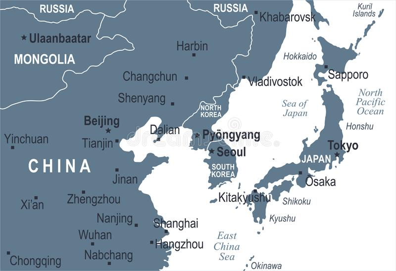 Karte Nordkoreas Südkorea Japan China Russland Mongolei - Vektor-Illustration stock abbildung