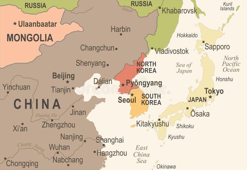 Karte Nordkoreas Südkorea Japan China Russland Mongolei - Weinlese-Vektor-Illustration stock abbildung