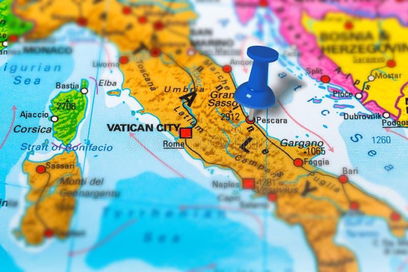 Karte Pescara Italien stockfoto
