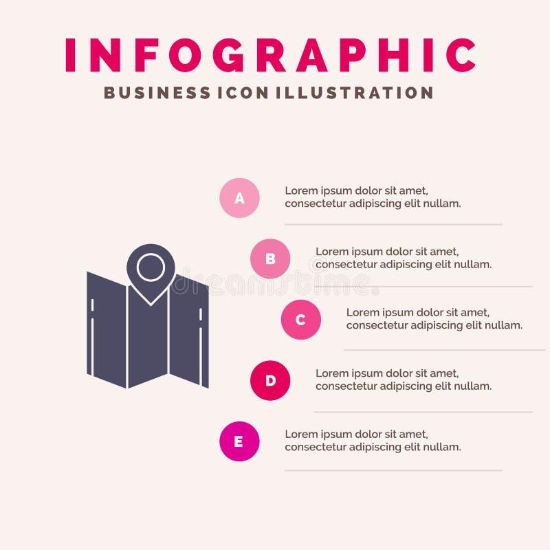 Karte, Richtung, Standort, Navigation, Schritt-Darstellungs-Hintergrund Zeiger-fester Ikone Infographics 5 vektor abbildung