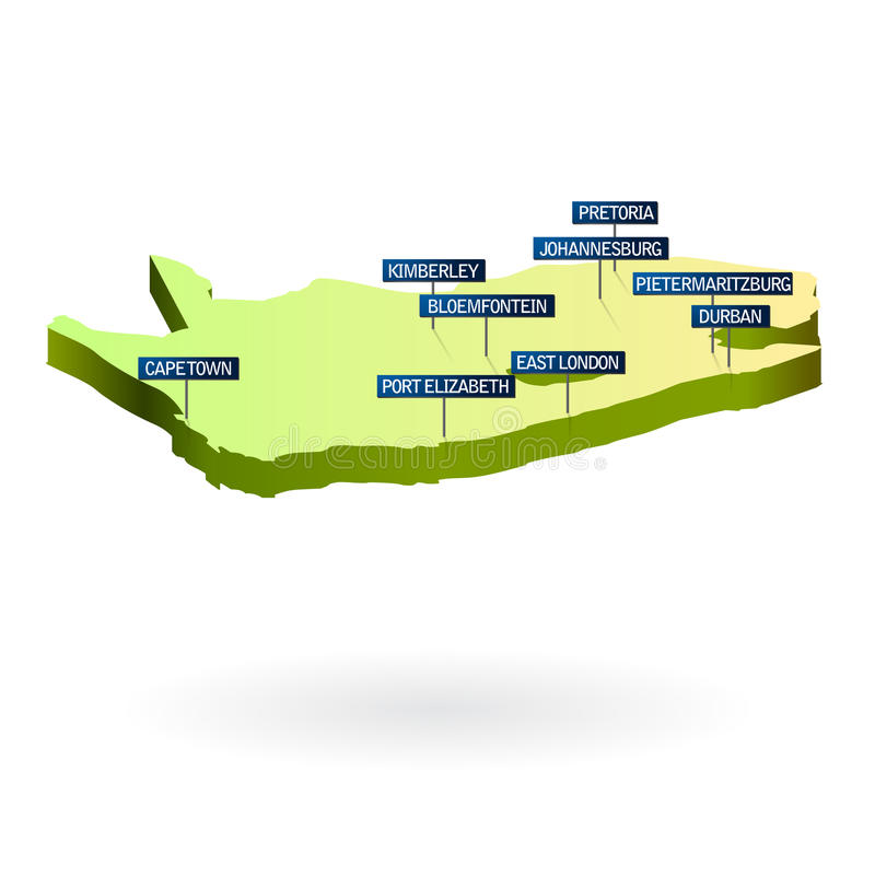 Karte Südafrika-3d mit Städte stock abbildung