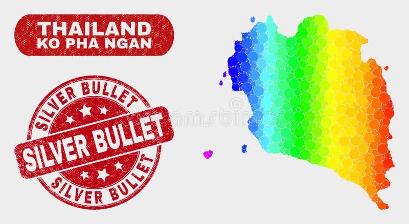 Karte Spektrum-Mosaik Ko Pha Ngan und verkratzte silberne Kugel-Dichtung stock abbildung