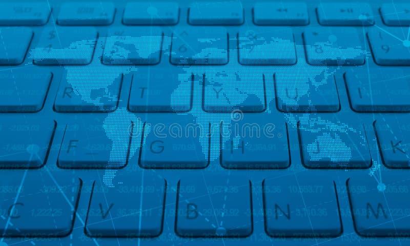 Karte und Diagramm auf Tastatur, Konzept des globalen Geschäfts, Elemente von lizenzfreie abbildung