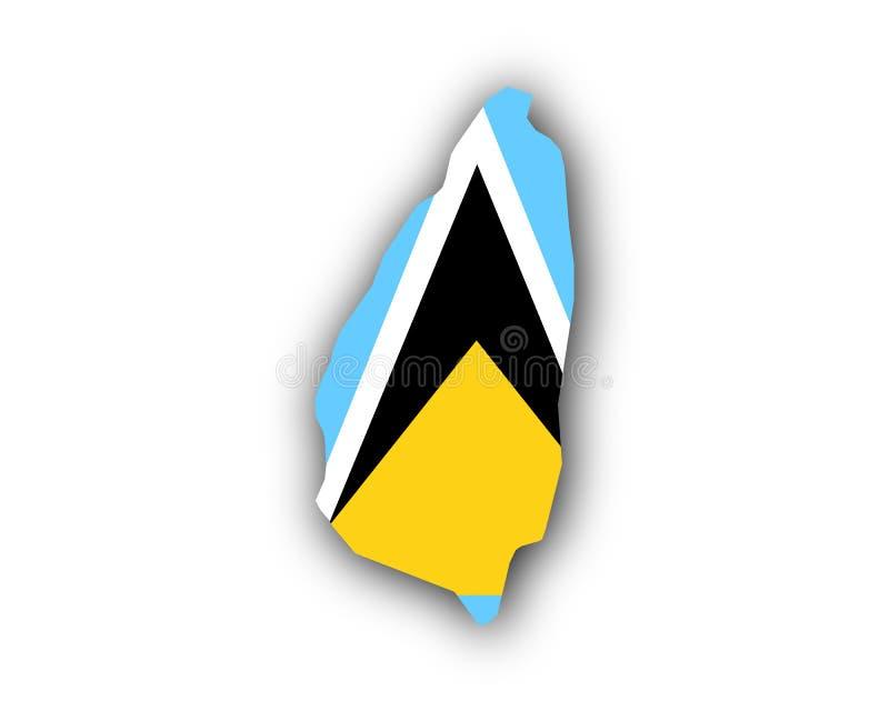 Karte und Flagge der St. Lucia stock abbildung