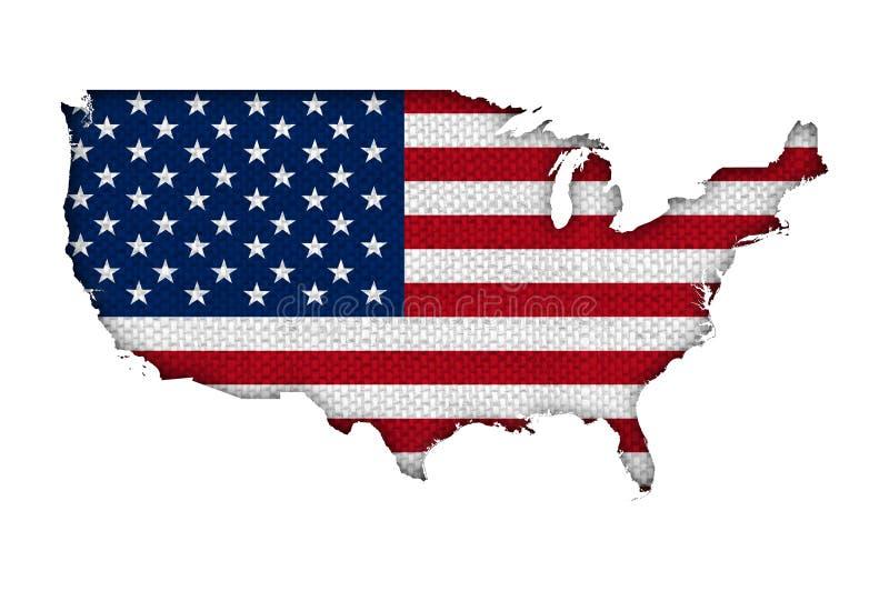 Karte und Flagge der USA auf altem Leinen stockfoto